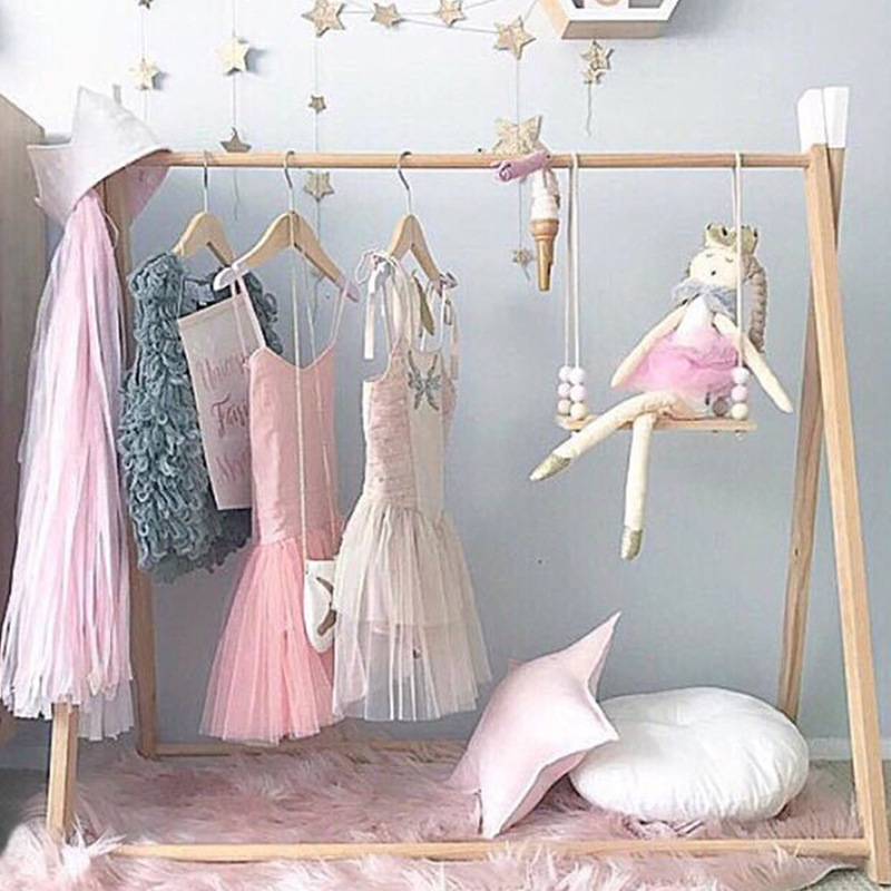 Ins Nordic style simple floor clothes storage rack Shooting props Children s room decoration clothes storage