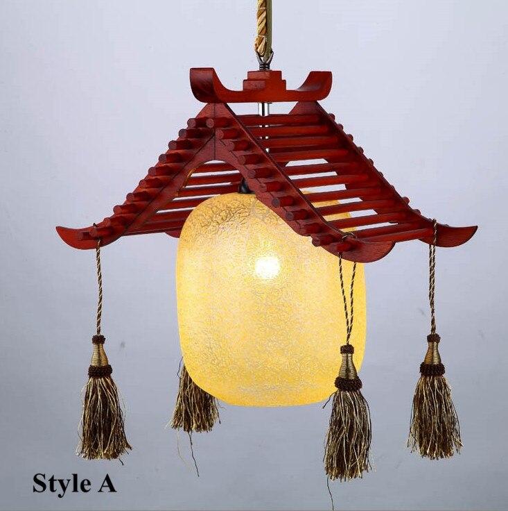 Modern quaint hand made wood LED pendant lights Elegant rural glass E27 LED three lamps lights for stairs&porch&corridor GZY001|Pendant Lights|   - title=