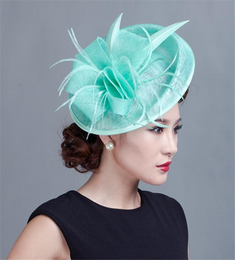 Short Hairstyle For Join Wedding: Sinamay Fascinator Luxury Feather Flower Hair Clip Women