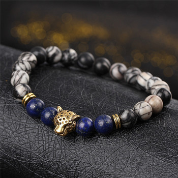DUOVEI Weathering Stone Leopard Head Beaded Bracelet For Men New Fashion Natural Stone Tiger Eye Onyx Lava Beads Bracelets 2