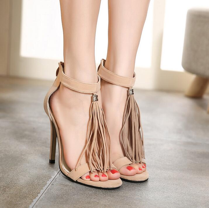 Fashion long fringe high heel sandals  newest tassel suede thin heels women summer sandals party shoes woman big size 42 brand new hot sale sexy suede leather women tassel sandals blue black purple red ladies high heel fringe shoes plus big size 42