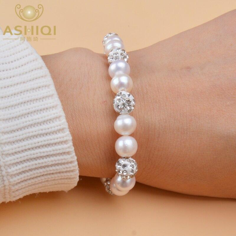 ASHIQI 8-9mm Brilliant Natural Freshwater Pearl Bracelets With Crystal Shambhala Beads Charm Bohemian Elasticity Bangles Women