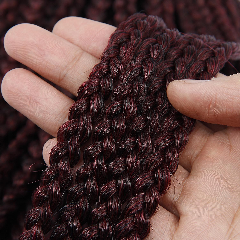 Crochê tranças de cabelo sintético 3s caixa trança xpression trança cabelo 22 polegada ombre preto raiz marrom bug preto cabelo crochê