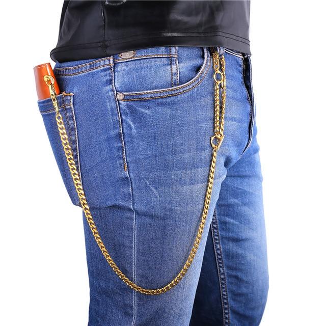 U7 Punk Rock Cowboy Heavy Pants Wallet Chain Yellow Gold/Black Gun Plated Stainless steel Purse Chain Waist Accessories BC105