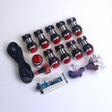 Easyget Zero Delay USB LED Encoder + 10 x Silver LED Illuminated Push Buttons To Arcade Game MAME Kit DIY & Raspberry Pi 1/2/3B
