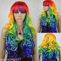 Vogue Long Wavy Curly Multi-Color Colorful Full Hair wig Cosplay Party Wig plating