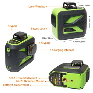 Image 2 - Huepar 8 linii Green Beam 3D Laser krzyżowy poziom samopoziomujący 360 pionowe i poziome ładowanie USB użyj akumulatora suchego i litowo jonowego