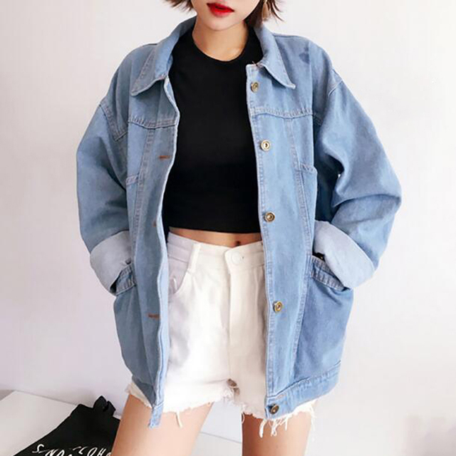 Us 82 0 Version Of The New Spring To Do The Old Wear White Denim Jacket Women Loose Thin Vintage Student In Basic Jackets From Women S Clothing On