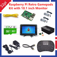 52Pi Raspberry Pi 3 Model B 32GB RetroPie Game Kit with 2pcs Gamepad Joystick and 10.1″ 1366*768 LCD Display LCD Screen Monitor