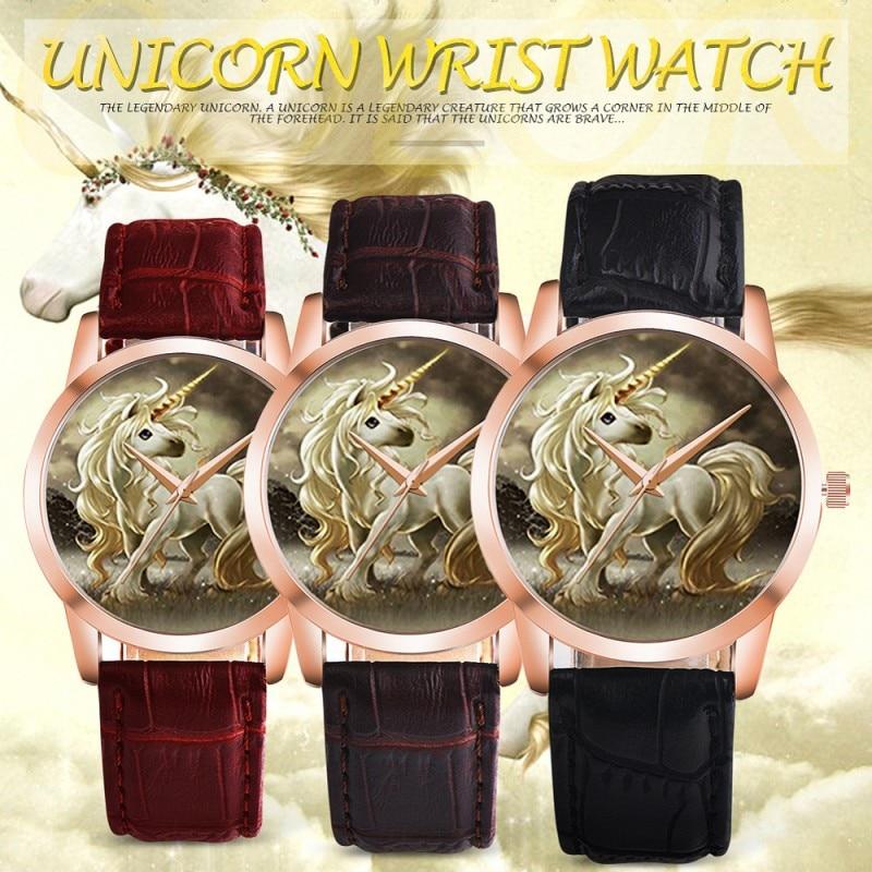 Fashion Girls Women Children's Watch Unicorns Kids Cartoon Leather Quartz Analog Casual Student Wristwatches Relogio Kol Saati