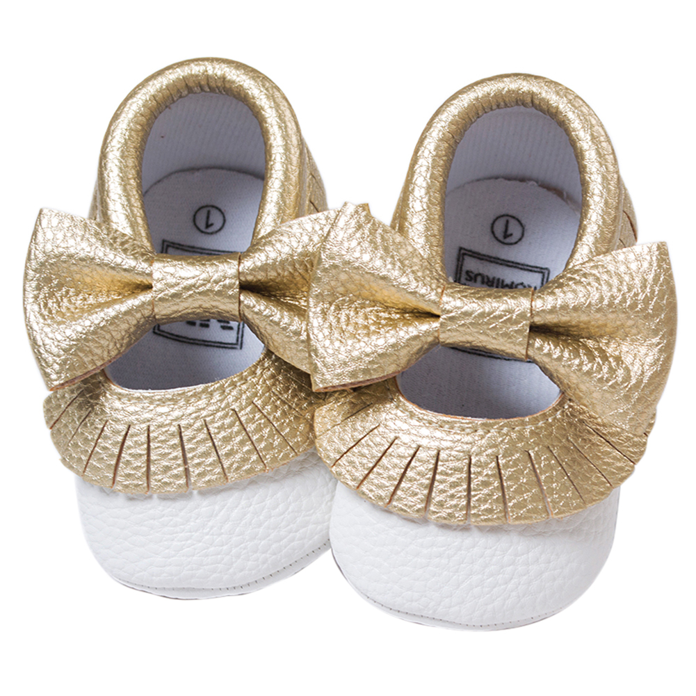 ROMIRUS Baby Moccasins Soft Bottom Butterfly-knot Baby Shoes Tassels Baby Prewalkers Shoes White and Gold 11cm