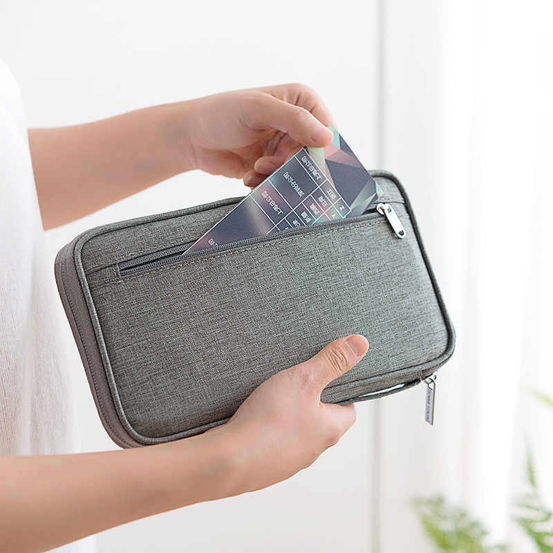 جديد متعددة الوظائف السفر بطاقة حزمة شهادة للماء الموجبة جواز حقيبة سستة الرجال النساء بطاقة غطاء حامل حقيبة