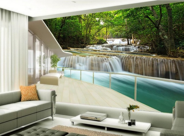 Aliexpress  Buy Custom 3d photo wall paper Forest waterfall - 3d wallpaper for living room