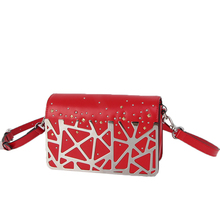 2019 Women Genuine Leather Sheet Metal Decorative Rivet Handbags Messenger Shoulder Bags Crossbody Red Handbag Small Stock red rivet