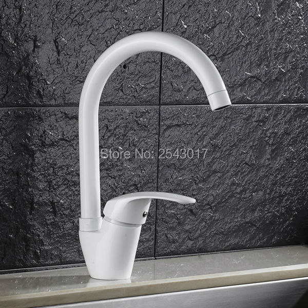 Grilled White Painted Kitchen Mixer Faucet 360 Swivel Spout Deck Mounted Sink Taps Torneira cozinha ZR588