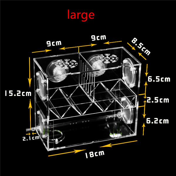 1piece acrylic peacock fish incubation box isolation box feeding box fish breeding box aquarium breeder box with access port S/L