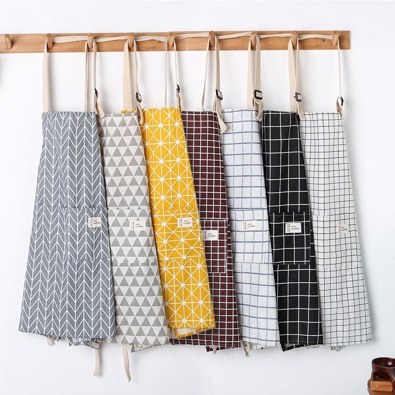 SINSNAN New Hot Fashion Lady Women Men Adjustable Cotton Linen High-grade Kitchen Apron For Cooking Baking Restaurant Pinafore