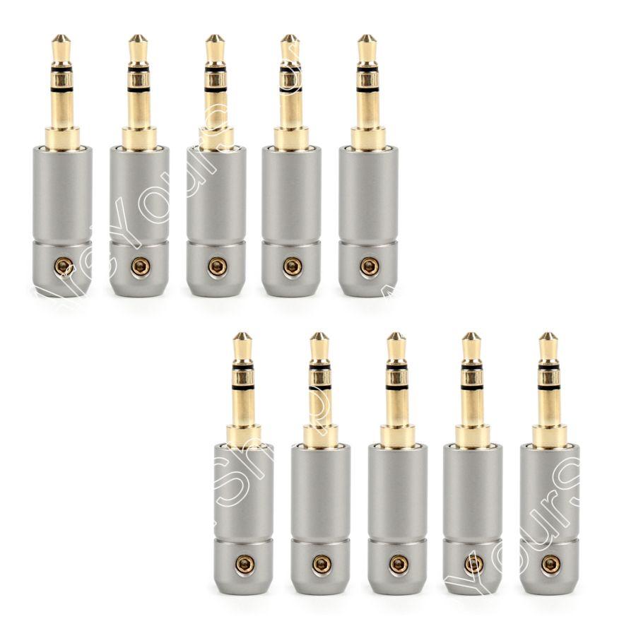 Sale 10Pcs 3.5mm Stereo Male Repair Earphone Jack Plug Adapter Audio Solder 5.6mm Hole