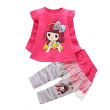 hot deal buy kids baby clothes girl baby long sleeve cotton cartoon casual suits baby clothing children sweet suits 2018 new