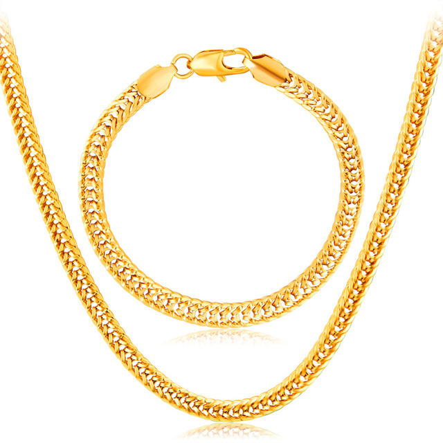 Dubai Fashion Classic Gold color Long Chain Necklace Bracelet