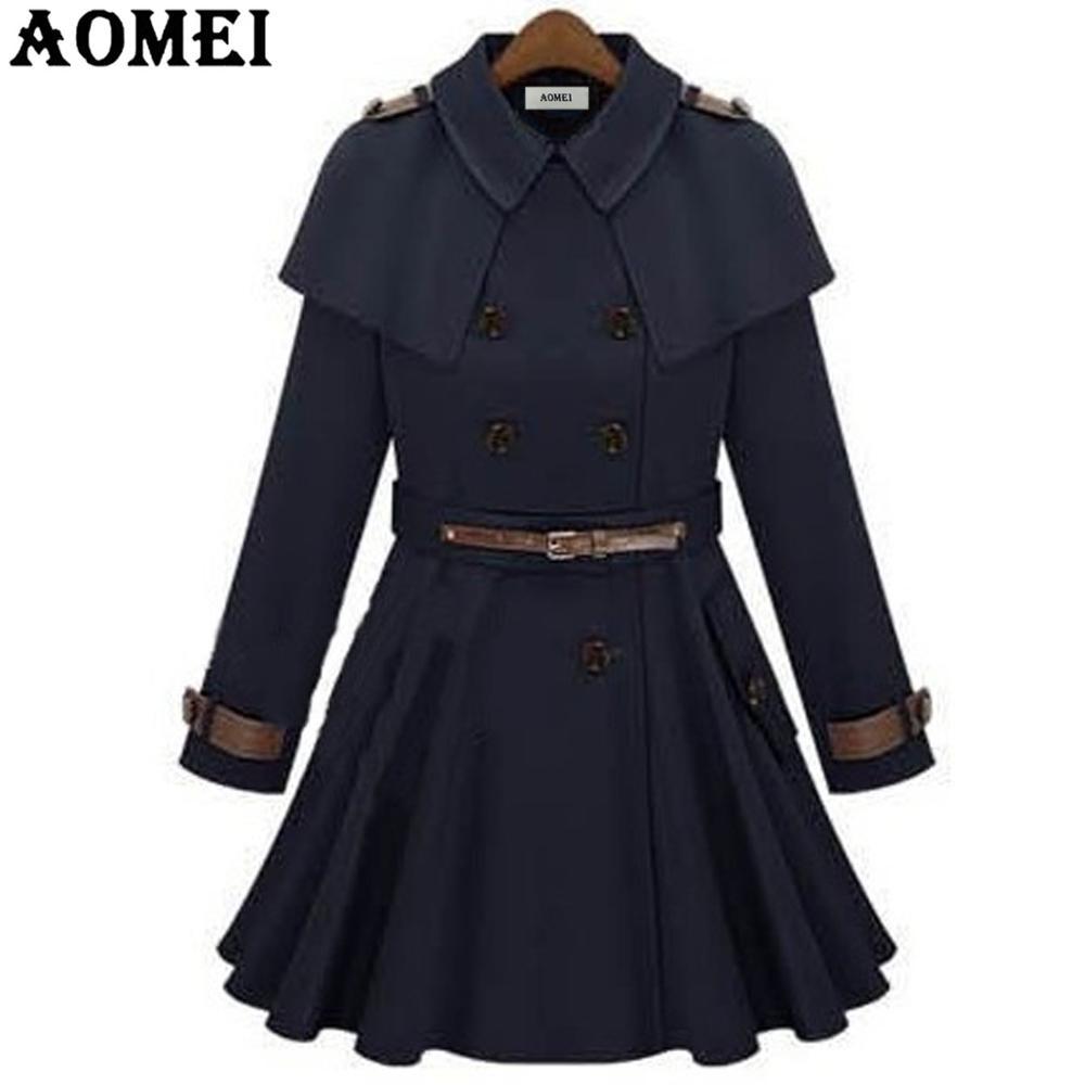 Женское осеннее Модное Длинное ветрозащитное пальто с поясом, темно-синяя верхняя одежда для офиса, женские топы с длинными рукавами, плиссированные зимние тренчи для офисных леди - Цвет: Navy Blue