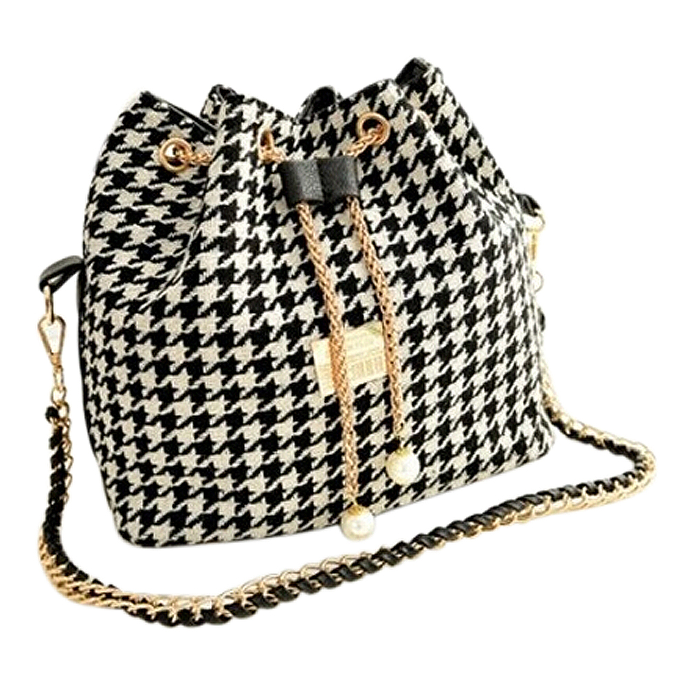 TEXU Women Houndstooth Bag Chains Fashion Bucket Bag Canvas Patchwork Shoulder Bag Messenger Bag Black And White Grid