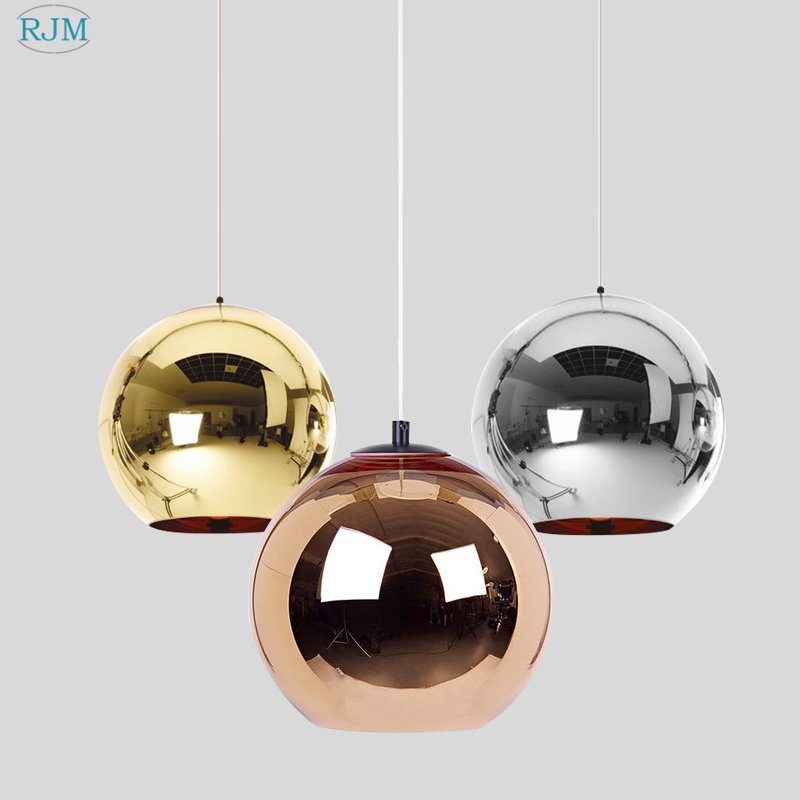 Modern Electroplated Golden Ball Pendant Lights Glass LED Hanglamp Kitchen Hanging Light Living Room Cafe Luminaries