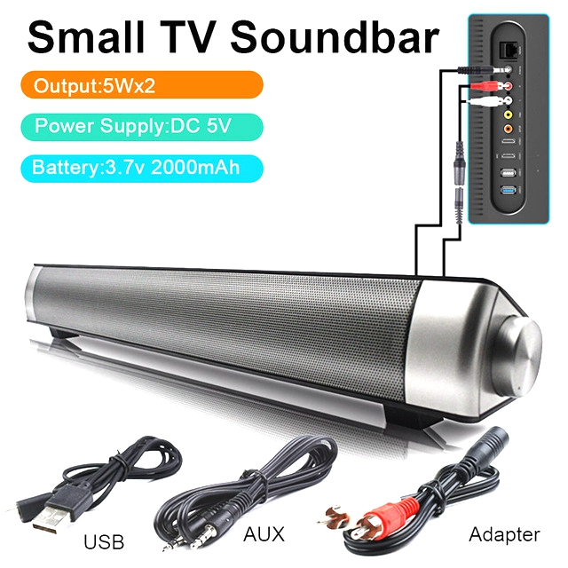 Portable TV Speaker Subwoofer Bluetooth Mic TF Enhanced Soundbar Louderspeaker 10W Dual Bass For PC Phone