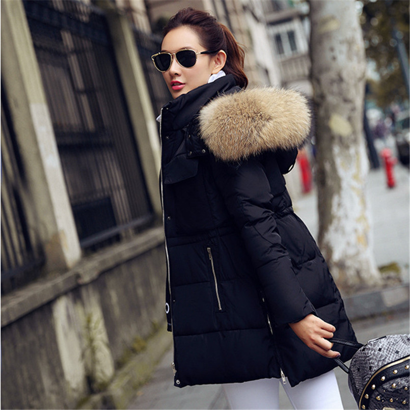 178c42cc4f9 YEYELANA Winter Jacket women coat 2017 New winter Jackets women Parkas Big  Real Raccoon Fur collar Long coat Female parka