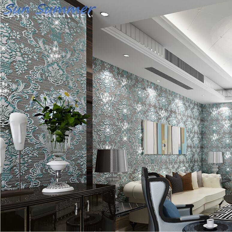 Блеск класса люкс Non сплетенная супер тяжелые 3D алмаз яркие обои для ТВ фон текстурированные 3D обои