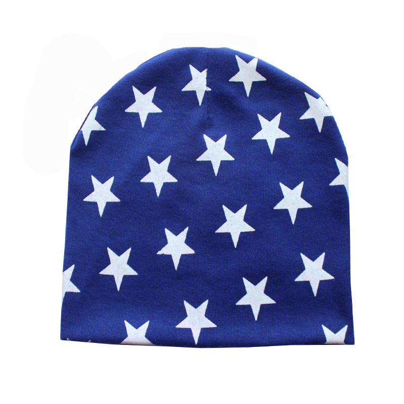 New Fashion Soft Cotton Hats 9 Candy Colored Winter Warm Unisex Newborn Cute Stars Print Beanie Caps For Baby Boy 7AA669