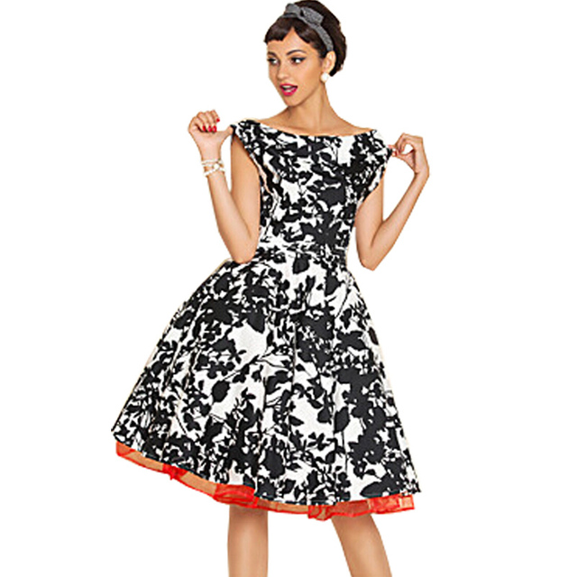 4ab4fbfba2a Women s 50s Vintage Retro Style Audrey  Hepburn Evening Party Outfit  Pleated Rockabilly Swing Dress