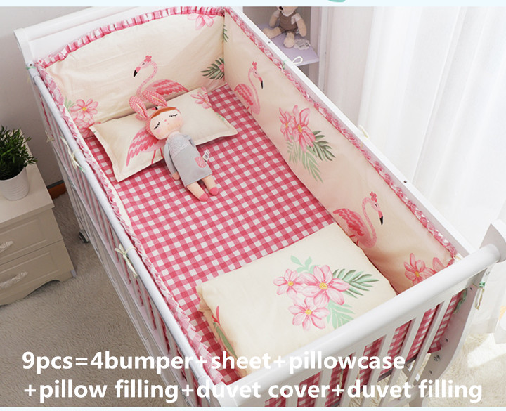 6/9PCS Flamingo Cotton Crib Baby Bedding Set Kit Berço Baby Sheet Cushion Safety Protector Cot Bedding Baby Blanket Whole Set