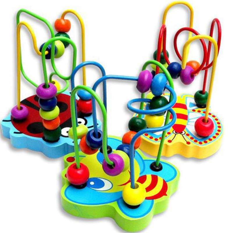 high quality Hot Children Kids Baby Colorful Wooden Mini Around Beads Educational Game Toy