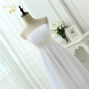 Image 5 - Vestido de novia sin tirantes, traje Empire, para embarazadas, de gasa, blanco marfil, largo, de talla grande, 2020