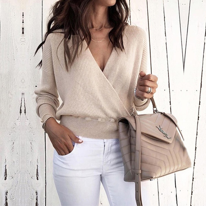 Fashion Women   T     Shirt   Sexy Deep V-Neck Cross Front Top Pullover Autumn Long Sleeve Solid   T  -  Shirt   Casual Female Tee   Shirt