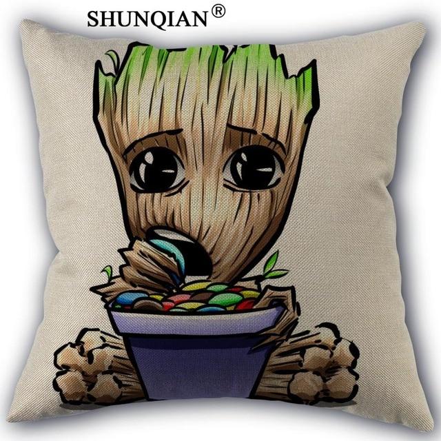 Custom Baby Groot Pillowcase Custom Cotton Linen Throw Pillow Cover