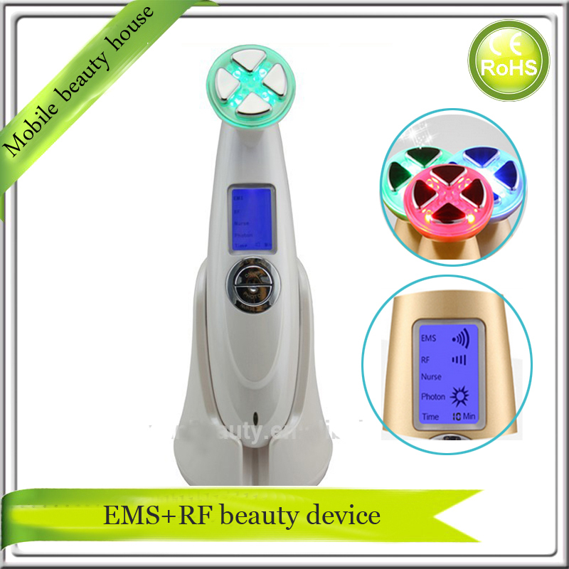 LCD Display Electrporation RF Radio Frequency EMS Microcurrent LED Light Photon Therapy Face Lifting Skin Rejuvenation Machine mini bipolar rf skin renewal system radio frequency ems bio microcurrent face lifting tightening led photon beauty device