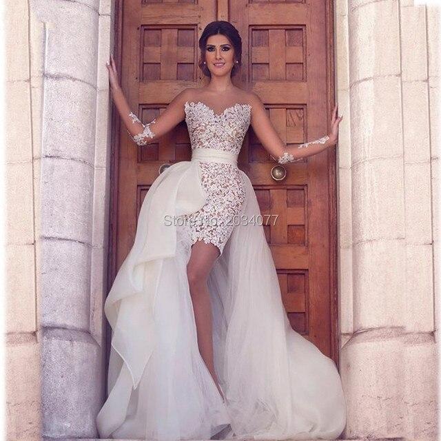 Asymmetrical Bohemain Wedding Dresses Removable Skirt Long Sleeves ...