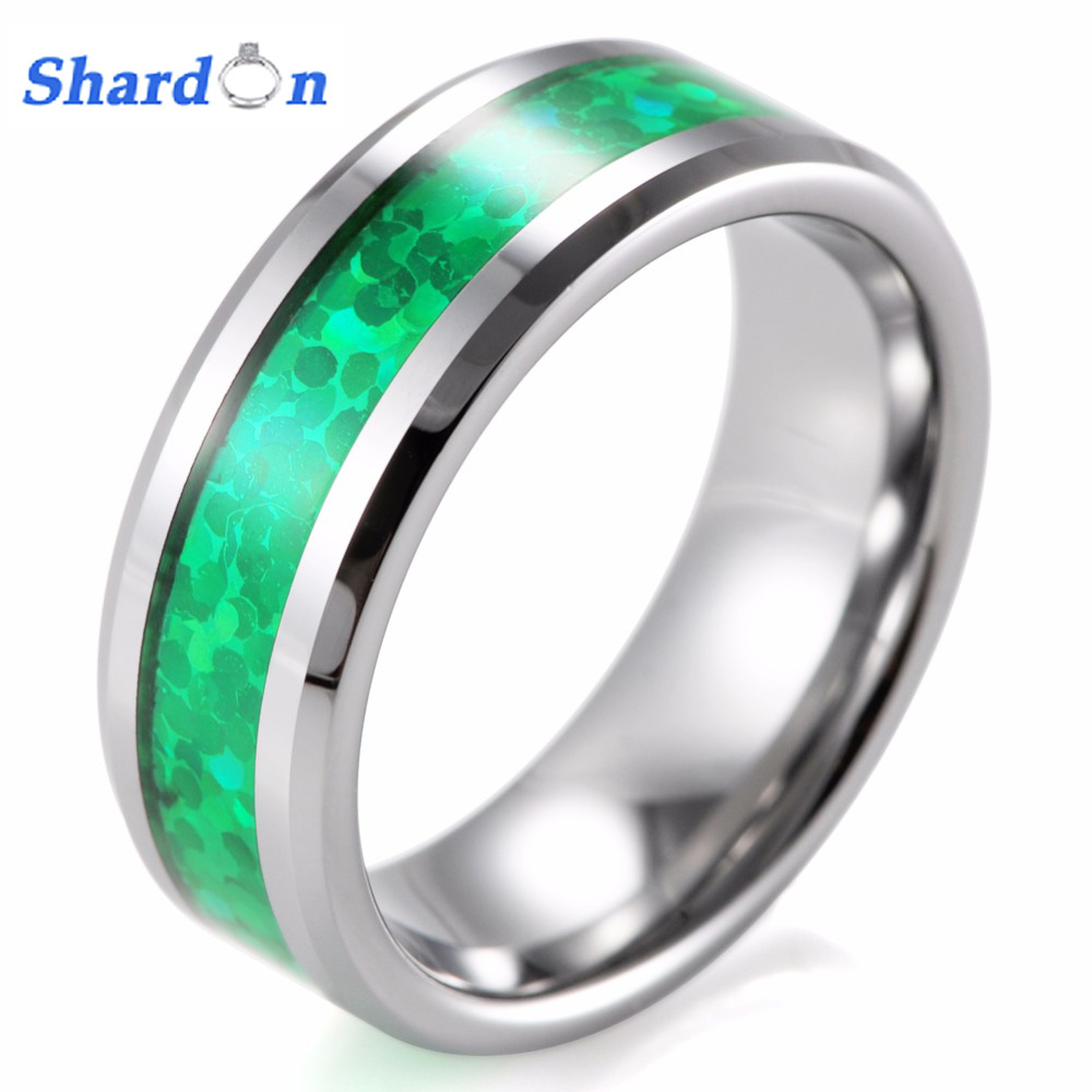 Shardon 6mm 8mm Tungsten Cincin Inlay Hijau Opal Pola Pernikahan 50 Pcs Led 5mm Nyala Kedip Blink Band Anillo Anel Masculino Aneis
