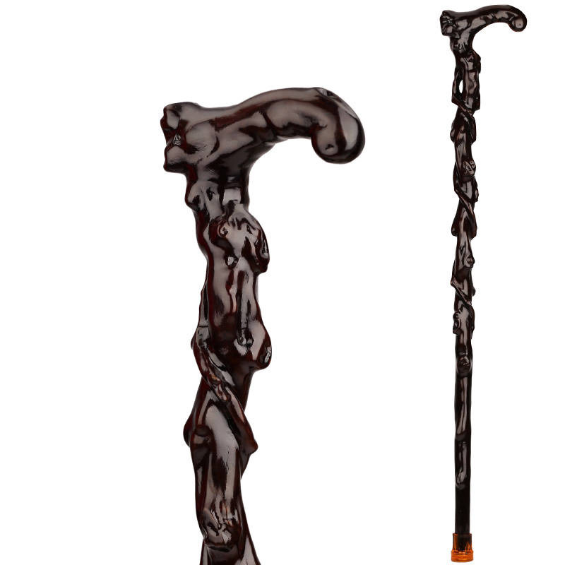 купить The old wood carving wood carving iron crutch over Fu pear rosewood cane cane Walker elderly по цене 4572.15 рублей