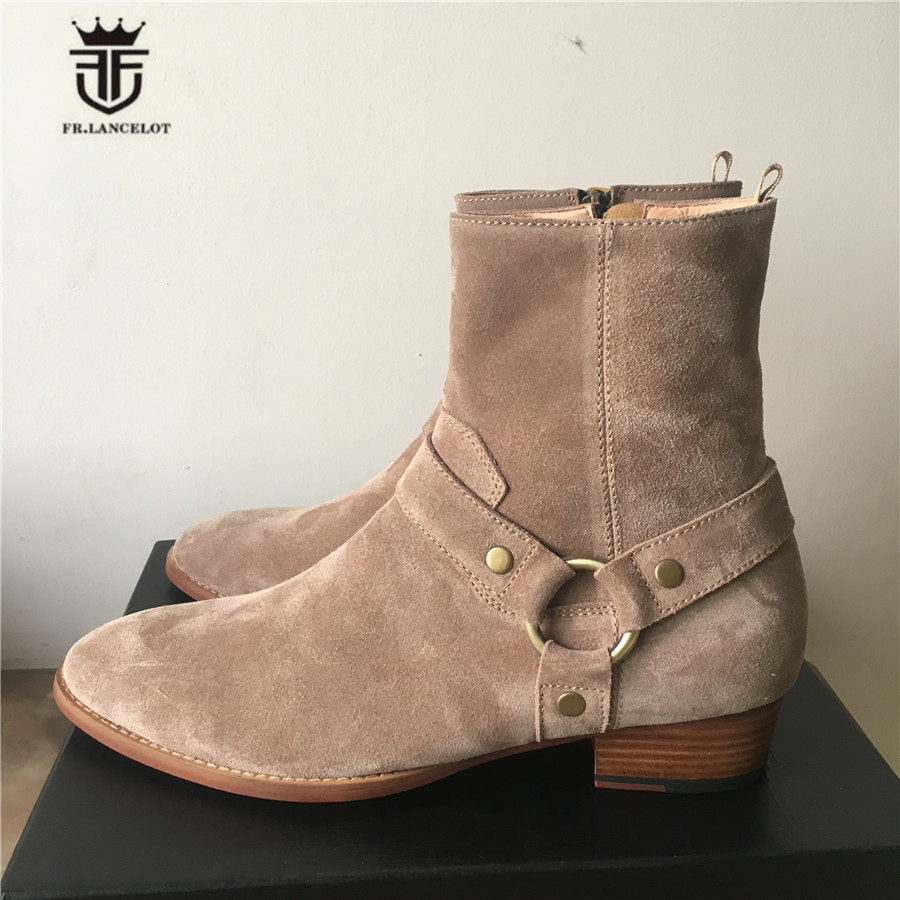 Exclusive Handmade Luxury 2017 New Color High Top Ankle Strap Suede Leather Men Denim Boots Wyatt Catwalk Wedge Chelsea Boots customized new exclusive design handmade