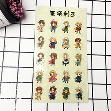 Anime Hetalia Axis Powers Plastic Stickers Transparent Decal Sticker for Phone Laptop Book and other Flat Sticker Toy anime black butler plastic stickers transparent decal sticker for phone laptop book and other flat sticker children toy sticker