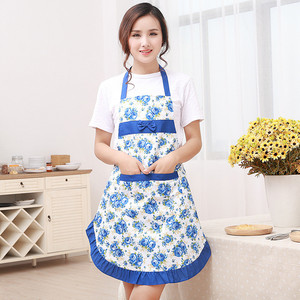 Image 2 - 1Pcs Bowknot Flower Pattern Apron Woman Adult Bibs Home Cooking Baking Coffee Shop Cleaning Aprons Kitchen Accessories 46002