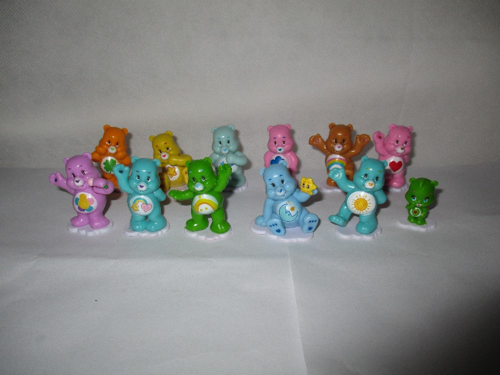 12pcs/lot Cartoon Bear <font><b>Mini</b></font> <font><b>PVC</b></font> <font><b>Action</b></font> Toy Figures Collectible Rainbow Colorful Bear Model Doll Kids Toys Cake Decoration