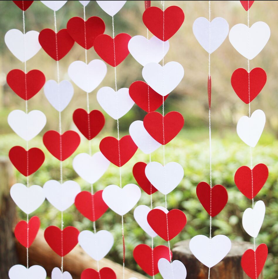 5pcs red white party decoration heart garland wedding for Hearts decorations home