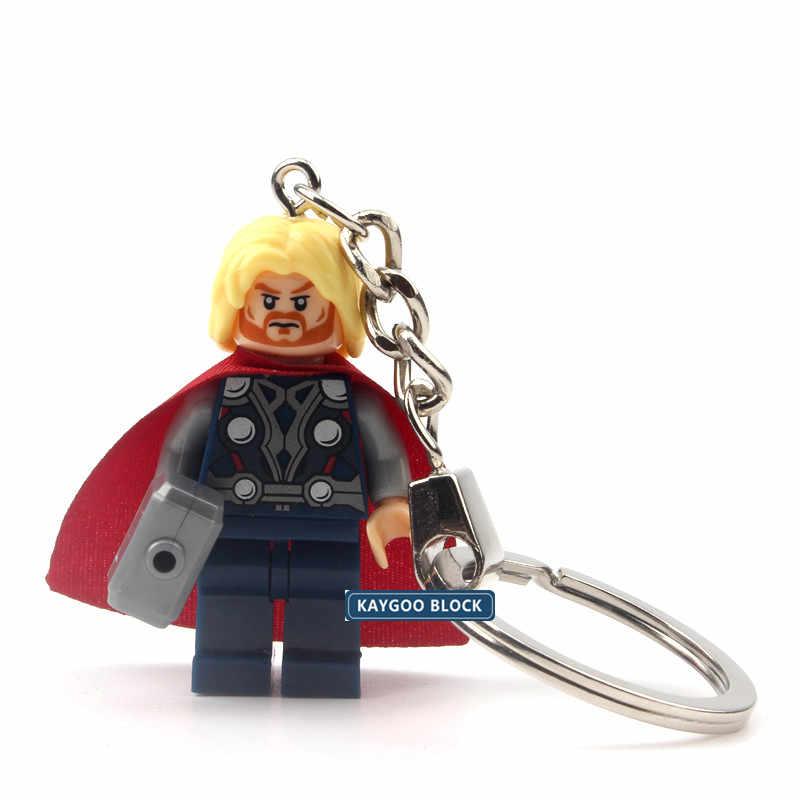 Única venda Marvel DC Clássico Super Herói Blocos de Construção Hulk Capitão América Batman homem aranha Filme Figura keychain