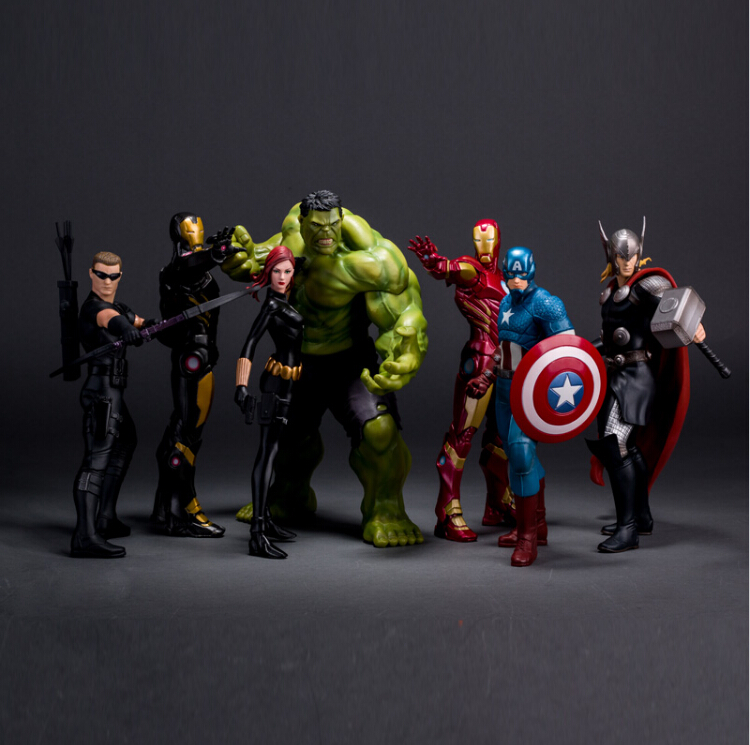 Movie Figure 23CM  Avengers 2 Age of Ultron Iron Man Black Widow Hawkeye Captain America Thor Hulk PVC Action Figure Toy Model captain american 2 winter soldier minifigures marvel thor black widow brick action hawkeye iron man minifigures