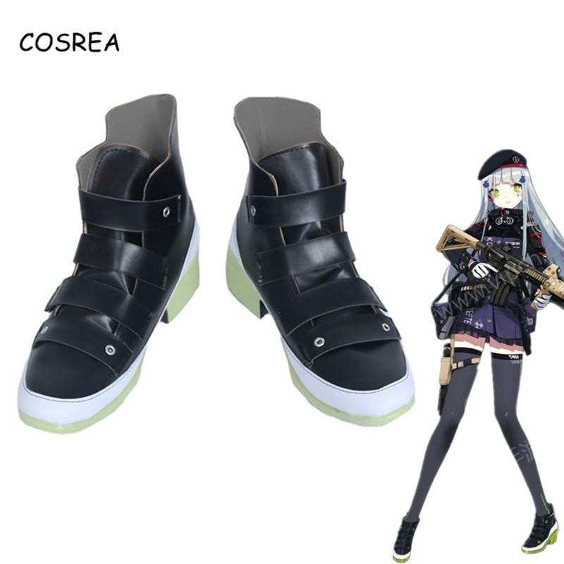 Game Girls Frontline Cosplay Costume Hk416 PU Black Short Boots Heighten Shoes Halloween Carnival Party For Woman Girls Shoes