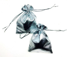300 unids 13*18 cm bolso de lazo bolsas de mujer de la vendimia de Plata para Wed/Partido/de La Joyería/de la Navidad/bolsa de Envasado Bolsa de regalo hecho a mano diy